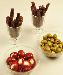 Ølpølse, marinert oliven, ricottafylt paprika