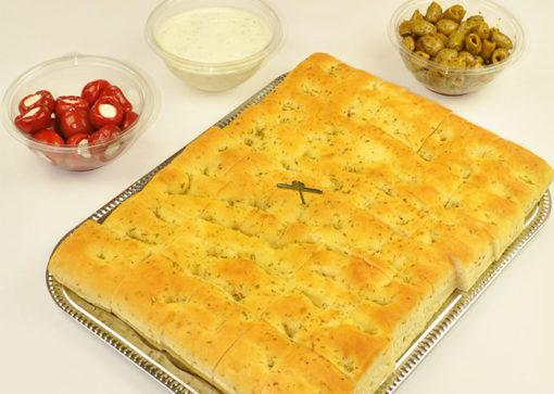 Focaccia, oliven, hvitløksdressing